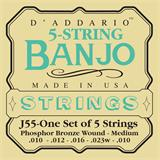 D'Addario J55 Phosphor Bronze Medium 5-String Banjo 10-23