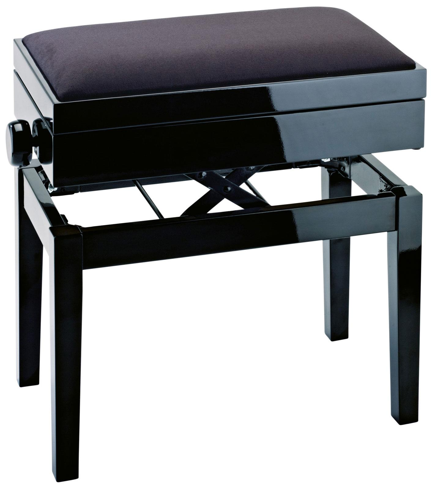 Konig meyer 13950 piano bench black velvet with storage keymusic Velvet storage bench
