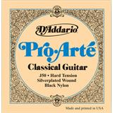 D'Addario J50 Set Pro Arte Hard Tension Silver Plated Black Nylon