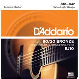 D'Addario EJ10 Bronze Acoustic Guitar Strings Extra Light 10-47