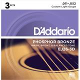 D'Addario EJ26-3D Phosphor Bronze Custom Light 3-Pack 11-52
