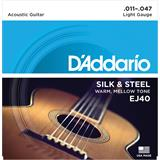 D'Addario EJ40 Silk And Steel Folk Silver Wound 11-47