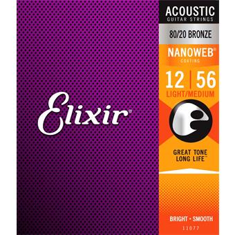 Elixir 11077 80/20 Bronze Nanoweb Light-Medium 12-56 Gitarrensaiten