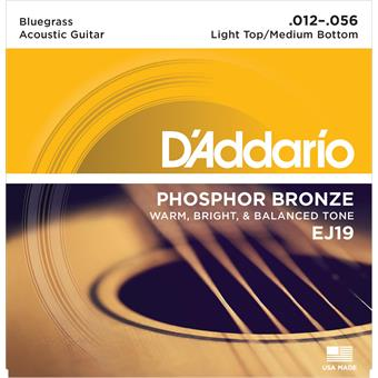 D'Addario EJ19 Phosphor Bronze Bluegrass 12-56 paquet cordes .012 guitare acoustique