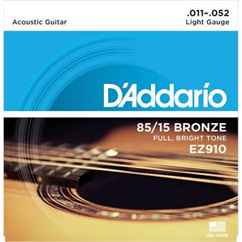 D'Addario EZ910 American Bronze 85/15 Light 11-52 011 acoustic guitar string set