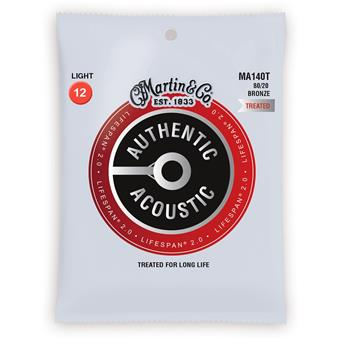 Martin Strings MA140T Authentic Acoustic Treated 80/20 Bronze Light coated string set for acoustic guitar