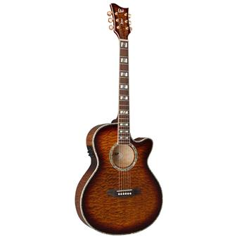 ESP LTD Xtone AC30E Dark Brown Sunburst acoustic-electric cutaway orchestra guitar