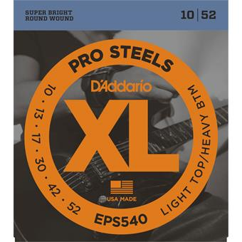 D'Addario EPS540 ProSteels Light Top Heavy Bottom 10-52 010 snarenset voor elektrische gitaar
