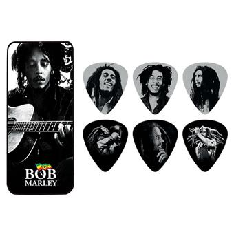 Dunlop Bob Marley Pick Tin Silver Heavy Signature Plektrum