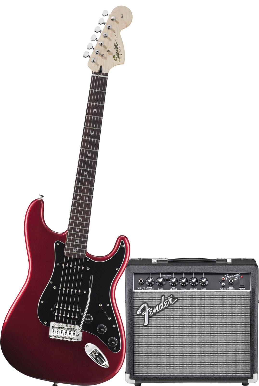 Squier Affinity Strat HSS Pack Frontman 15G Candy Apple Red   Keymusic