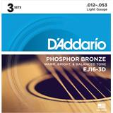 D'Addario EJ16-3D Phosphor Bronze Light 3-Pack 12-53