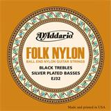 D'Addario EJ32 Folk Nylon Ball End Black Trebles Silver Basses