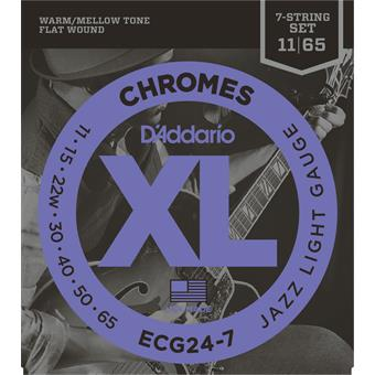 D'Addario ECG24-7 Chromes Flat Wound Jazz Light 7-String flatwound guitar string set