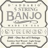D'Addario JS60 Stainless Steel Light 5-String Banjo 9-20