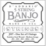 D'Addario JS57 Stainless Steel Medium 5-String Banjo 11-22