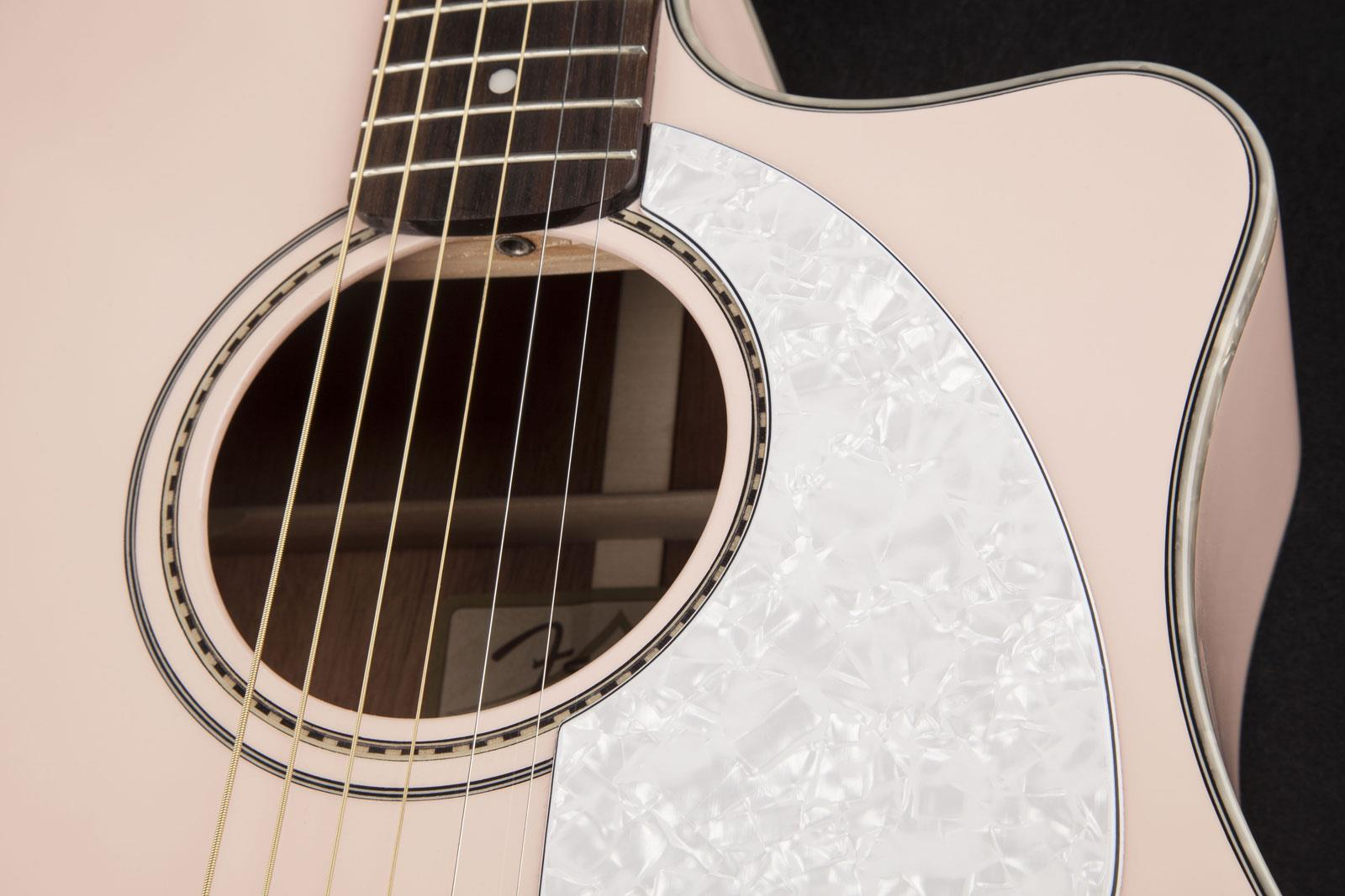 e6b17af3a5 ... Fender Sonoran SCE Shell Pink acoustic-electric cutaway dreadnought  guitar ...