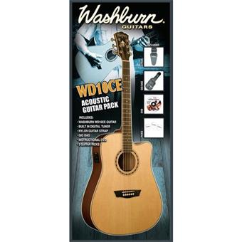 Washburn WD10CE Pack Natural acoustic guitar pack