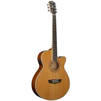 Washburn WMJ11SCE Mini Jumbo Natural acoustic-electric cutaway orchestra guitar