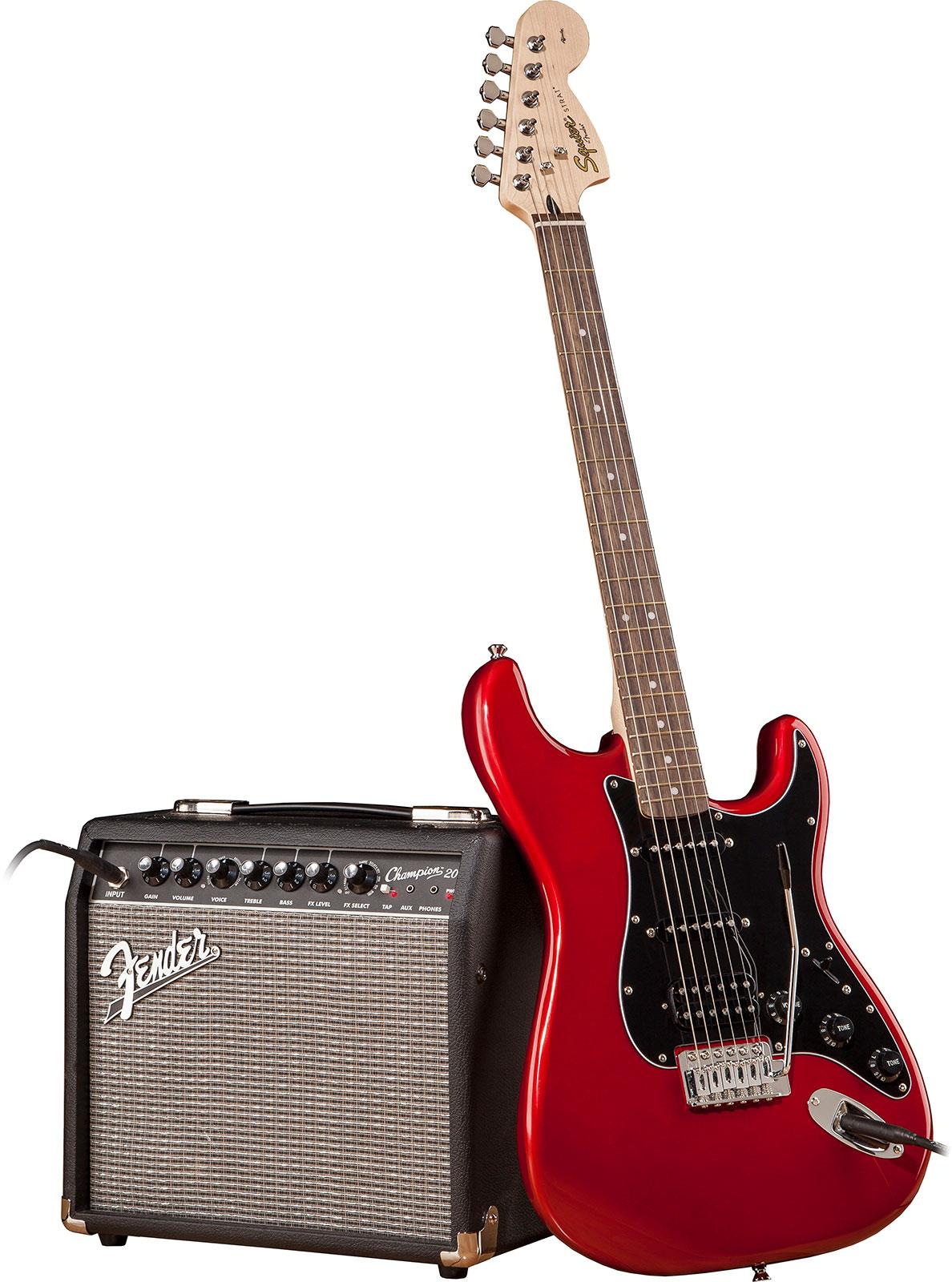 squier affinity stratocaster hss pack champion 20 candy apple red keymusic. Black Bedroom Furniture Sets. Home Design Ideas