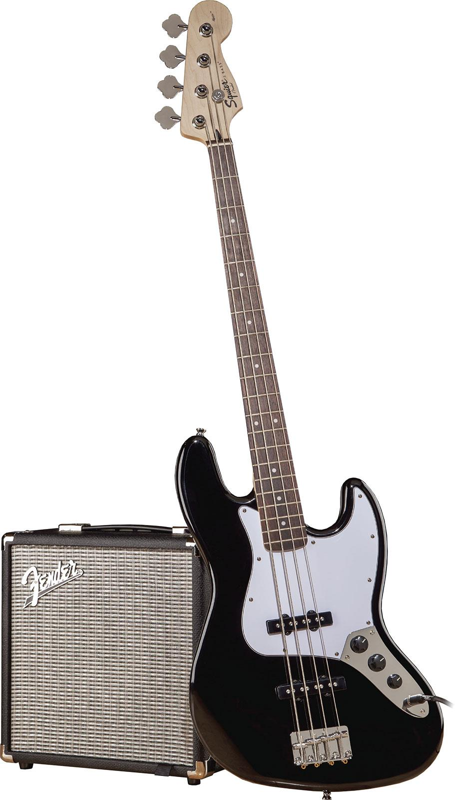 squier affinity jazz bass pack rumble 15 black keymusic. Black Bedroom Furniture Sets. Home Design Ideas