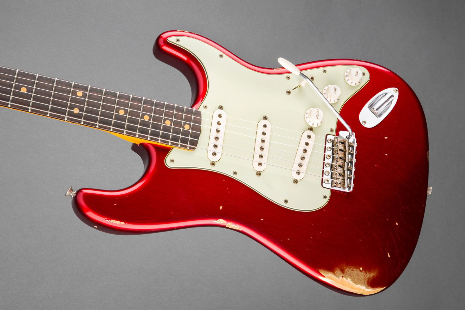 Fender Custom Shop 1963 Relic Stratocaster Candy Apple Red Electric Guitars