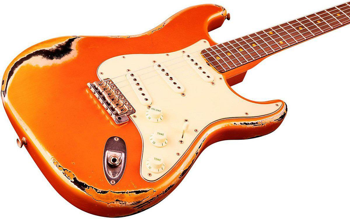 Fender Custom Shop Heavy Relic Stratocaster Faded Candy Tangerine Over Black