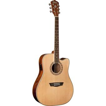 Washburn WD10CE Natural acoustic-electric dreadnought guitar