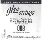 GHS 008 Plain Steel Ball End Guitar Strings
