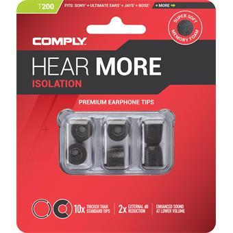 Comply T-200 Small Black, Replacement ear tips, size small, 3 pair in-ear headphones