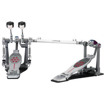 Pearl P-2052BL Red Line Double Pedal Belt Drive Lefty Pédale de Grosse Caisse