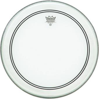 Remo Powerstroke 3 Clear Bass 24 With White Falam Patch bass drum head