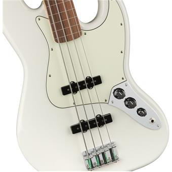 Fender Player Jazz Bass Fretless PF Polar White fretloze basgitaar