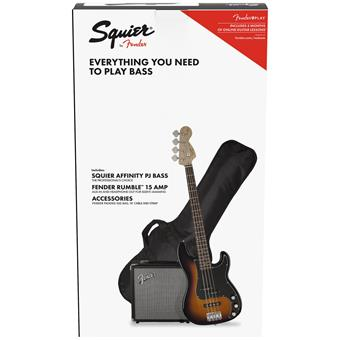 Squier Affinity Series Precision Bass PJ Pack Brown Sunburst bass guitar pack