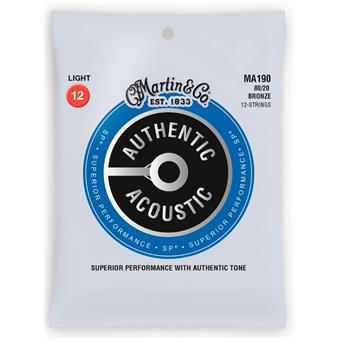 Martin Strings MA190 Authentic Acoustic SP 80/20 Bronze 12 String Light paquet de 12 cordes guitare acoustique