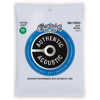 Martin Strings MA170PK3 Authentic Acoustic SP 80/20 Bronze 3-pack Extra Light 010 snarenset voor akoestische gitaar
