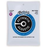 Martin Strings MA175PK3 Authentic Acoustic SP 80/20 Bronze 3-pack Custom Light