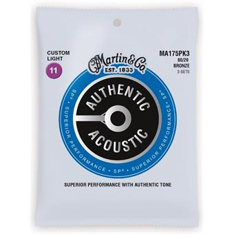 Martin Strings MA175PK3 Authentic Acoustic SP 80/20 Bronze 3-pack Custom Light 011 snarenset voor akoestische gitaar