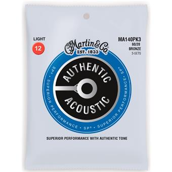 Martin Strings MA140PK3 Authentic Acoustic SP 80/20 Bronze 3-pack Light 012 snarenset voor akoestische gitaar