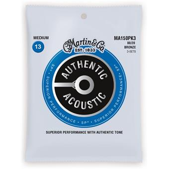 Martin Strings MA150PK3 Authentic Acoustic SP 80/20 Bronze 3-pack Medium 013 snarenset voor akoestische gitaar