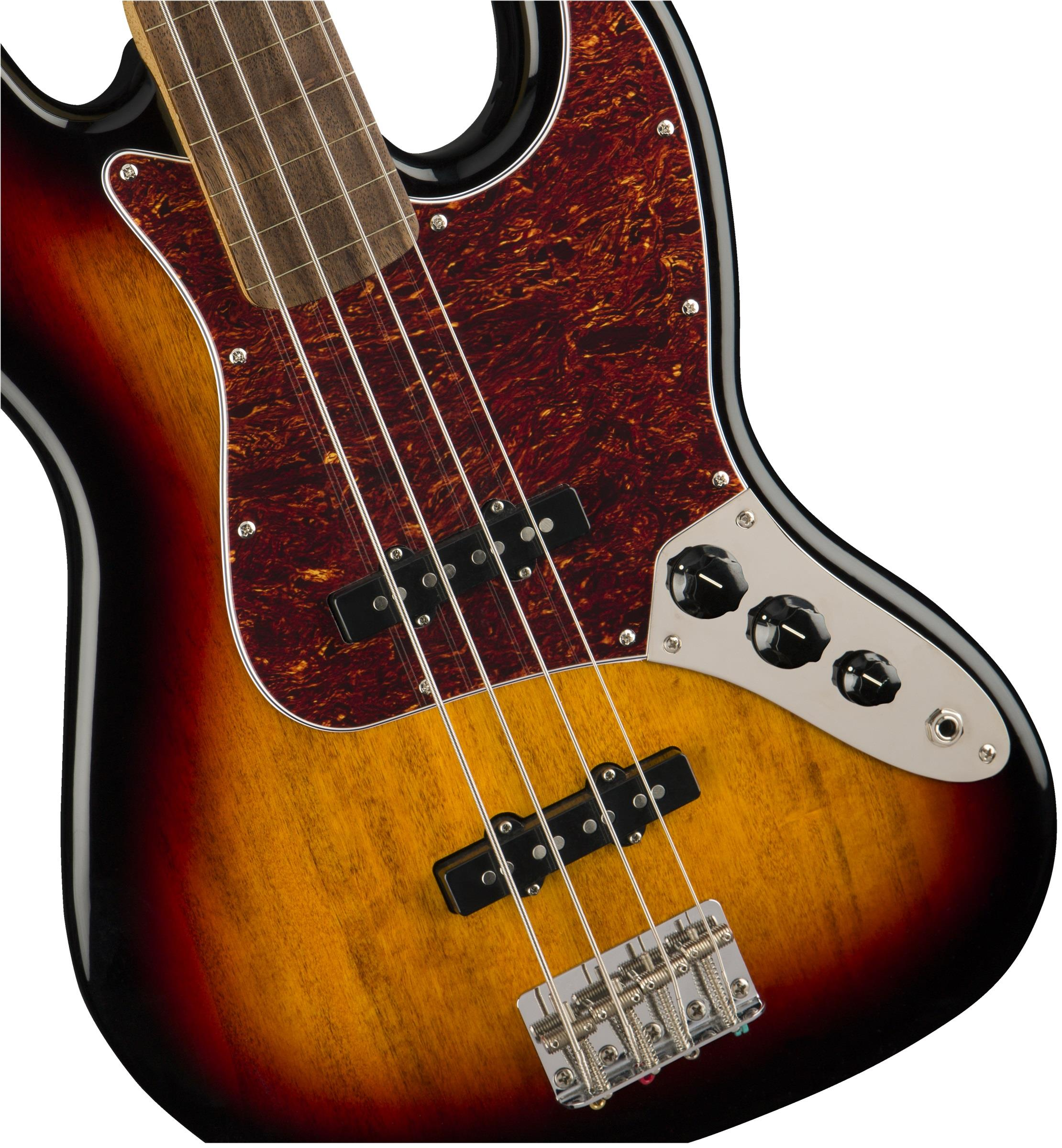 squier classic vibe  u0026 39 60s jazz bass fretless lrl 3 color sunburst