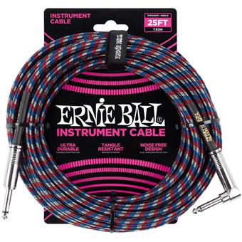 Ernie Ball 6063 Jack/Jack 762cm Black, Red, Blue & White instrument cable