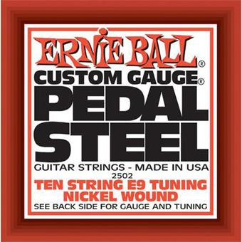 Ernie Ball 2502 Pedal Steel Nickel Wound 10-String E9 Tuning corde pour instrument traditionnel