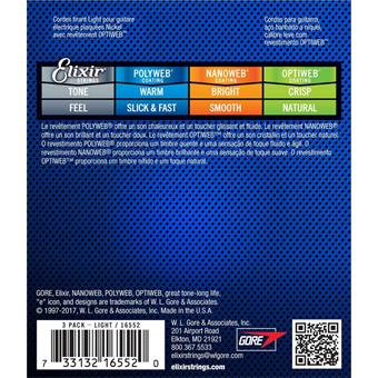 Elixir 16552 Electric NPS Optiweb Light 3-Pack coated string set for electric guitar