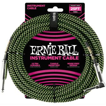 Ernie Ball 6066 Jack/Jack 762cm Black & Green Instrumentkabel