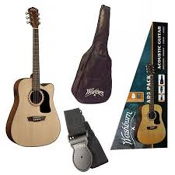 Washburn GWA AD5CEPACK Dreadnought Natural Electro Akustische Gitarrenset