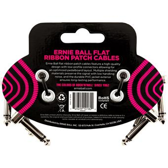 Ernie Ball 6220 Flat Ribbon Patch Cables 7.5cm 3-Pack patch cable for pedal