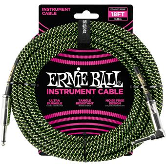 Ernie Ball 6058 Jack/Jack 550cm Black & Green Instrumentkabel