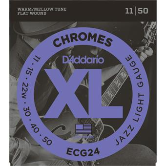 D'Addario ECG24 Chromes Flat Wound Jazz Light paquet cordes flatwound guitare électrique