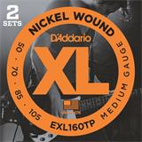 D'Addario EXL160TP Nickel Wound Bass Medium Twin Pack 50-105