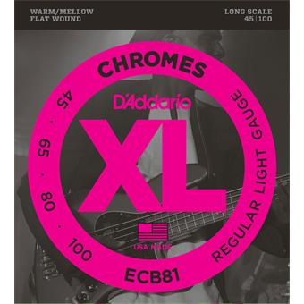 D'Addario ECB81 Chromes Bass Regular Light 45-100 flatwound bassnarenset